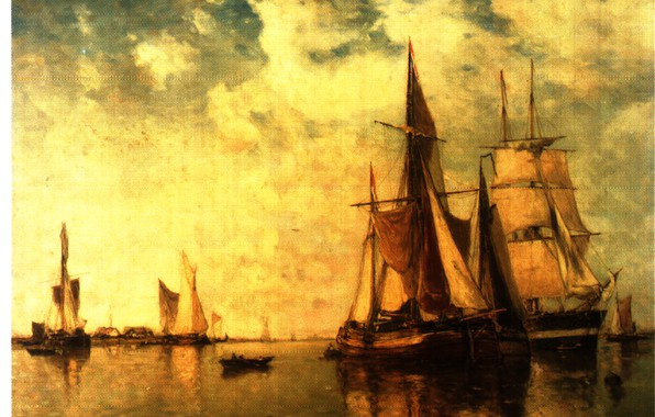 Picture sea, boat, ships, sails, CLAYS, SHIPPING ON THE SCHELDT