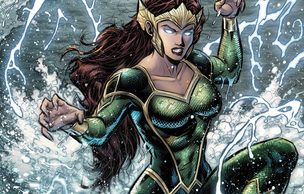 Picture girl, fantasy, sea, crown, splashes, comics, redhead, artwork, suit, superhero, fantasy art, DC Comics, Aquaman, …