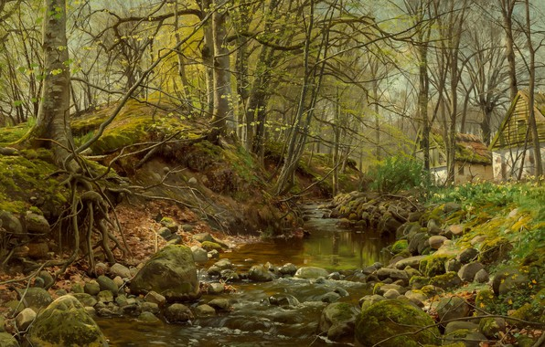 Picture 1905, Danish painter, Forest stream, Peter Merk Of Menstad, Peder Mørk Mønsted, Danish realist painter, …