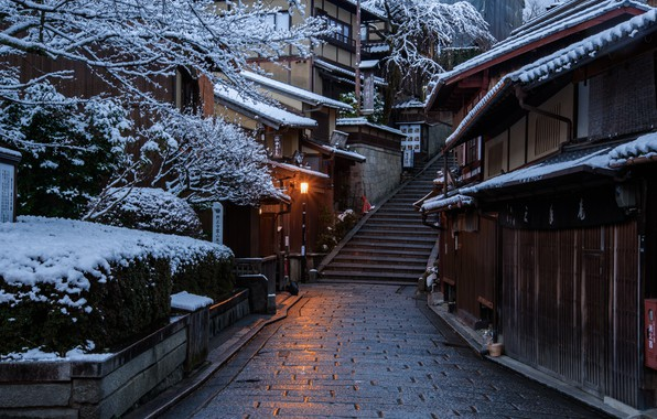 Picture Home, Winter, Road, The city, Japan, Snow, Ladder, Street, Kyoto