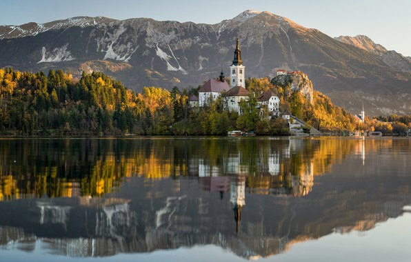 Picture autumn, mountains, lake, reflection, island, Slovenia, Lake Bled, Slovenia, Lake bled, Bled, Assumption of Mary …