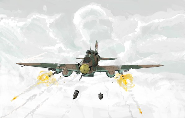 Picture clouds, figure, art, shooting, attack, bombs, THE SOVIET AIR FORCE, Ilyushin, Il-2