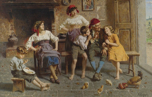 Picture Italian artist, Italian painter, oil on canvas, Visiting grandfather, Visiting grandfather, Eugenio Zampighi, Eugenio Zampighi