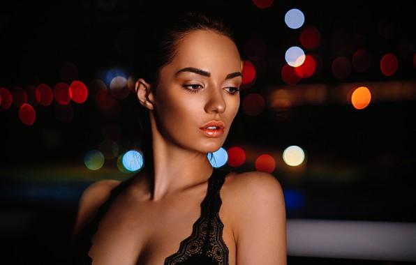 Picture night, lights, glare, model, portrait, makeup, hairstyle, beauty, in black, bokeh, Nika, Eugene Balin, E.Balin