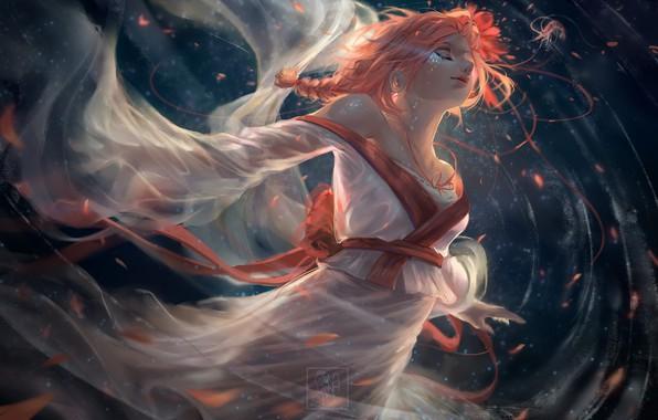 Picture water, girl, face, fantasy, art, kimono