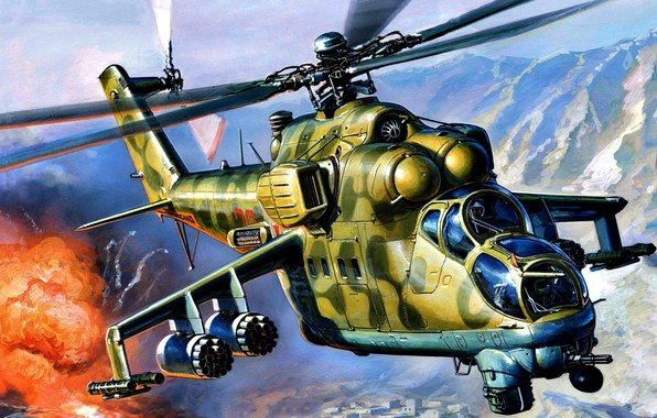 Picture Mountains, The explosion, THE SOVIET AIR FORCE, Mi-24V, The war in Afghanistan, Soviet attack helicopter, …
