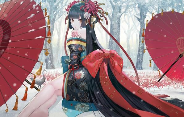 Picture Girl, long hair, legs, trees, umbrella, anime, winter, snow, birds, digital art, artwork, environment, black …