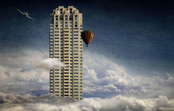 Picture clouds, birds, the plane, balloon, skyscraper, skyscraper, clouds, birds, airplane, balloon, Ben Goossens