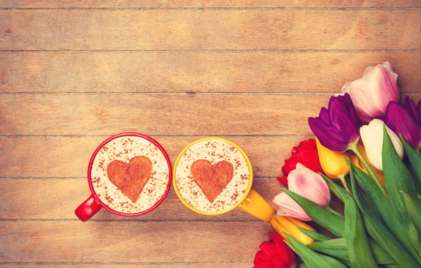 Picture flowers, heart, colorful, tulips, heart, wood, cup, romantic, tulips, coffee, a Cup of coffee
