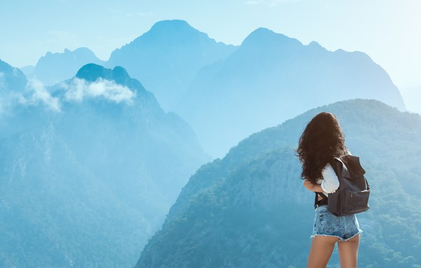 Picture girl, peace, shorts, legs, landscape, nature, mountains, mood, tranquility, brunette, backpack, jean shorts, short shorts, …