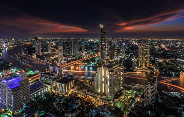 Picture night, the city, lights, building, Thailand, Bangkok