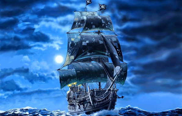 Picture ship, art, Pirates, black sails, Galleon, Black pearl