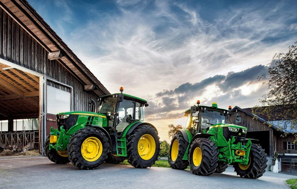 Picture the sky, clouds, green, technique, hangar, cabin, wheel, John Deere, tractor, big wheels, agricultural machinery, …