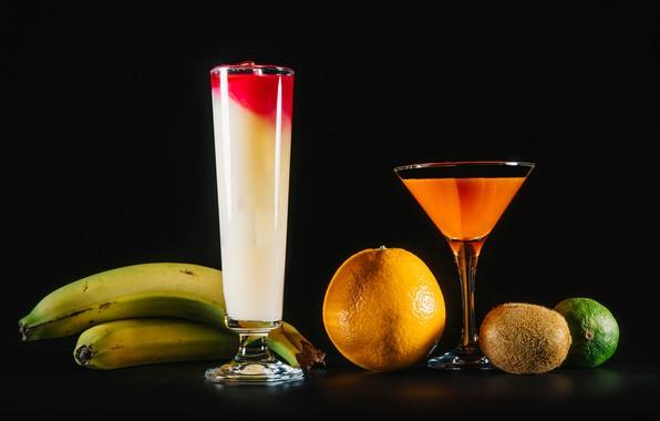 Picture orange, kiwi, glasses, juice, bananas, lime, fruit, black background