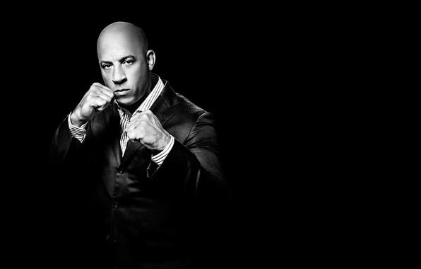 Picture pose, costume, actor, VIN Diesel, stand, background black, Vin Diesel, writer, filmmaker, film producer