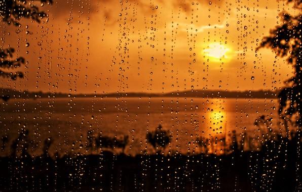 Picture glass, drops, sunset, rain
