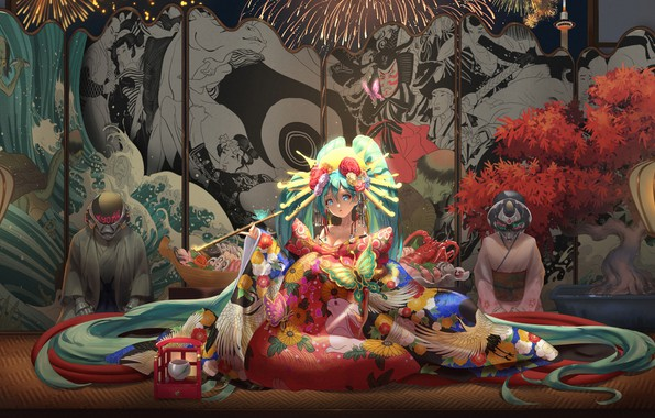 Picture vocaloid, Hatsune Miku, games, butterfly, kimono, games girl