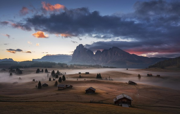 Picture mountains, fog, morning, valley, Alps, houses