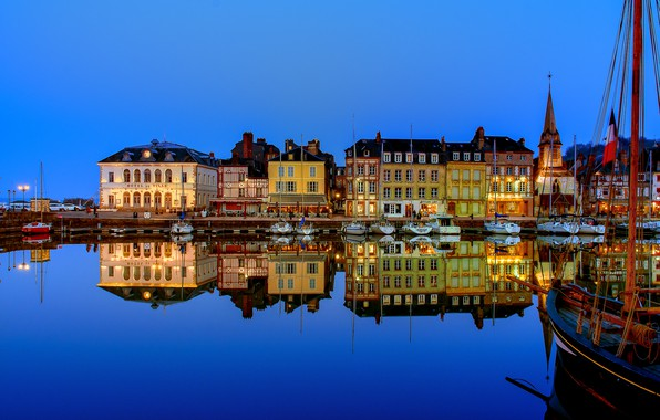 Picture lights, France, boats, the evening, pier, Honfleur
