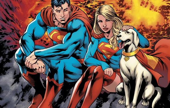 wallpaper girl logo fantasy dog man couple comics superman