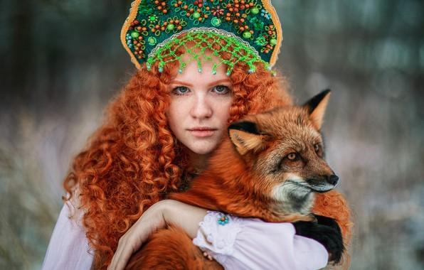 Picture look, girl, face, hair, Fox, freckles, red, curls, redhead, kokoshnik, by Александра Савенкова, Софья Раксеева