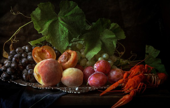 Picture grapes, fruit, still life, peaches, plum, tray, cancers