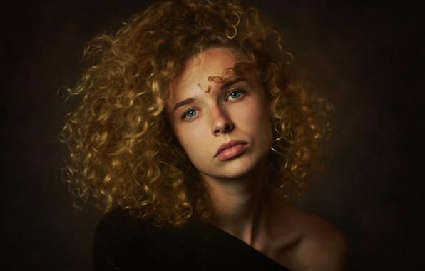 Picture girl, portrait, blonde, curls, shoulder, Zachary