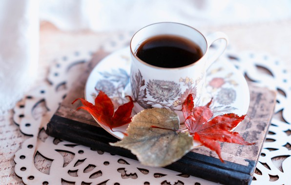 Picture leaves, coffee, Cup