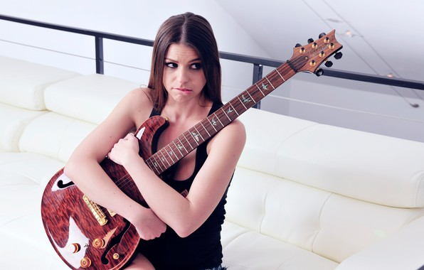 Picture eyes, look, girl, sofa, sweetheart, woman, model, hair, guitar, Mike, brunette, lips, beauty, girl, guitar, …