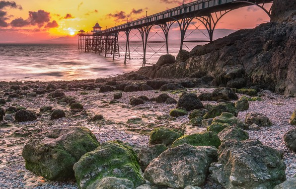 Picture Sunset, Clouds, Sea, Bridge, Shore, Stones, Arch, Dawn