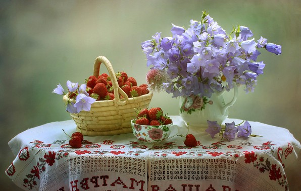 Picture flowers, table, background, basket, strawberry, berry, Cup, vase, still life, bells, tablecloth