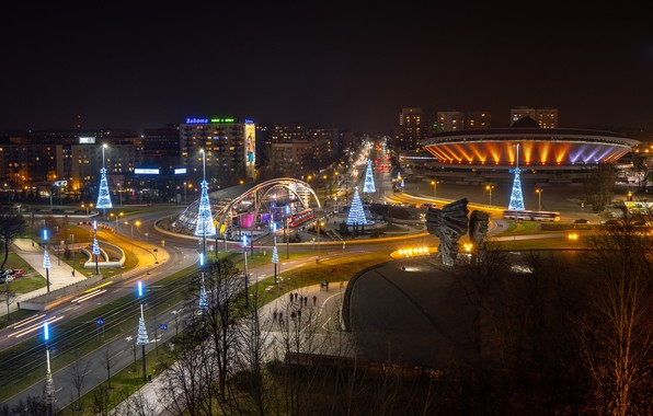 Picture lights, the evening, Poland, Katowice, Christmas decoration