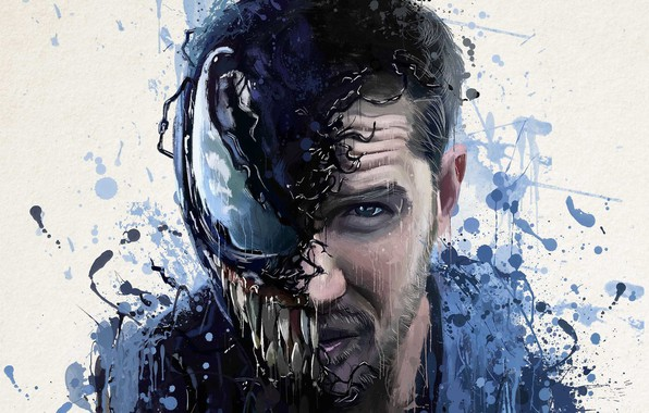 Picture abstraction, background, fiction, figure, art, blots, poster, horror, Tom Hardy, Tom Hardy, Venom, Venom