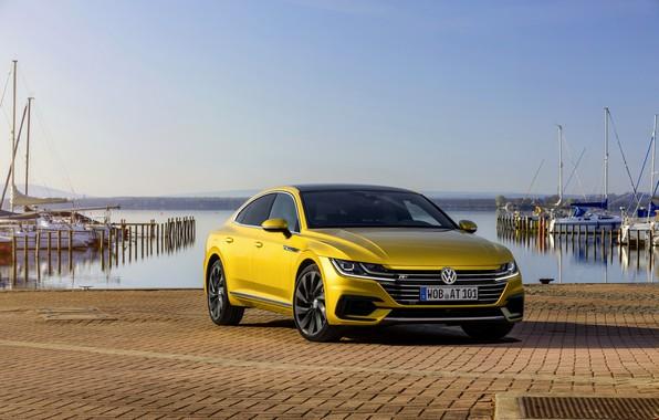 Picture yellow, pavers, Volkswagen, promenade, 2018, R-Line, liftback, 2017, Arteon