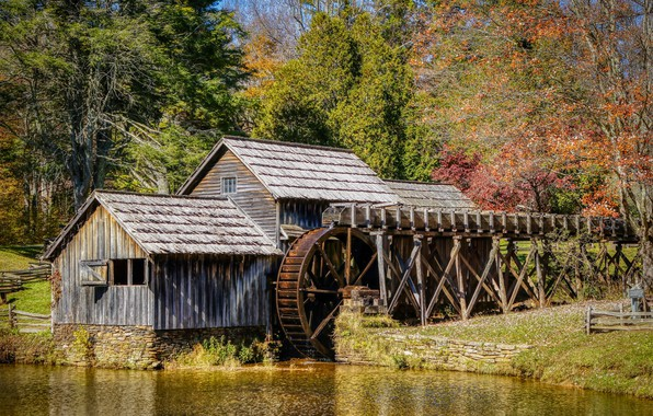 Picture Water, Nature, Mill, Wheel, Mabry Mill