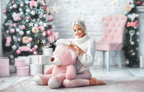 Picture look, girl, pose, smile, mood, bear, New year, tree, sweater, Teddy bear, Katerina Shiryaeva, Anastasia …