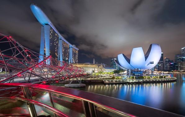 Picture night, the city, Singapore, Marina Bay