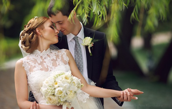 Picture dress, hugs, lovers, the bride, wedding, the groom