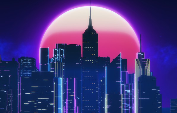 Picture Night, Music, The city, The moon, Style, Neon, 80's, Synth, Retrowave, Synthwave, New Retro Wave, ...