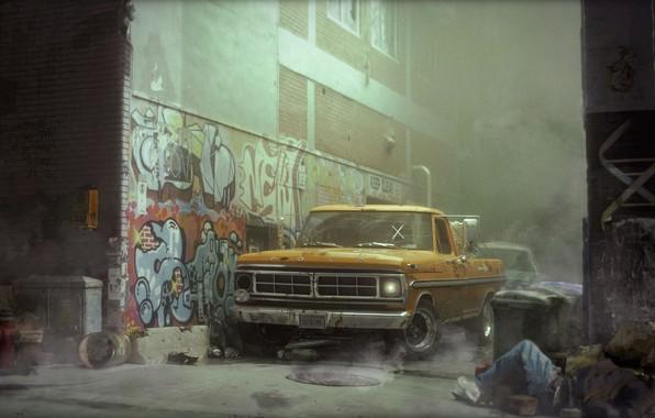 Picture Ford, Auto, Machine, Street, Graffiti, Pickup, Street, Transport & Vehicles, James O'Brien, New York street, …