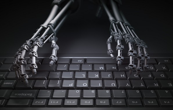 Picture robot, hands, keyboard
