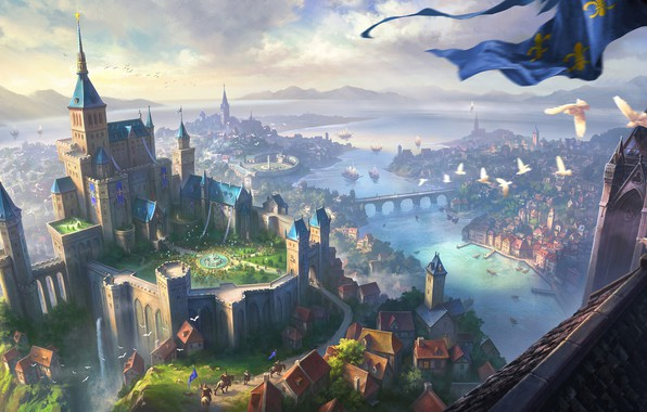 Picture city, fantasy, river, sky, bridge, clouds, birds, Castle, artwork, fantasy art, ships, roofs, towers, knight, …