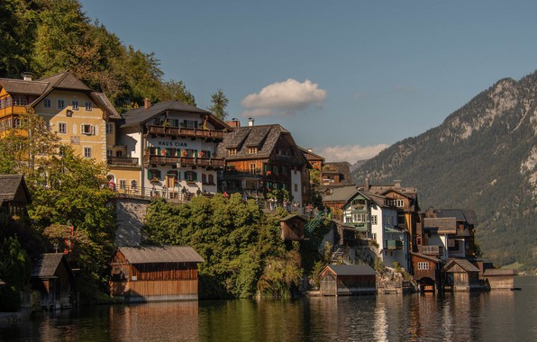 Picture water, mountains, lake, home, Austria, Austria, Hallstatt, Lake Hallstatt, Hallstatt, Lake Hallstatt, Hallstatt