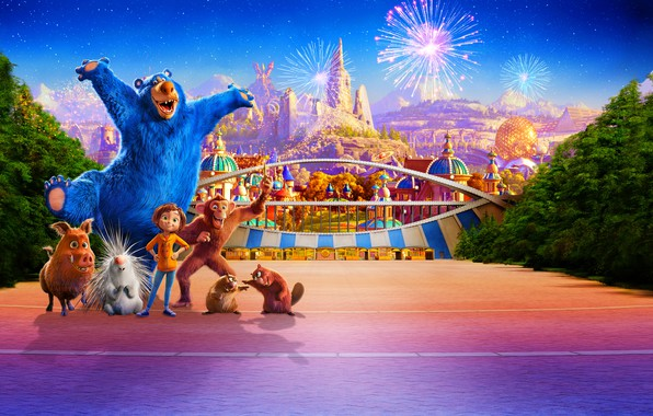 Picture Park, animals, cartoon, salute, fantasy, fireworks, poster, characters, Wonder Park, Magic Park June