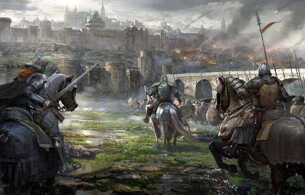 Picture bridge, weapons, Castle, warrior, rider, storm, armor, siege, Razer