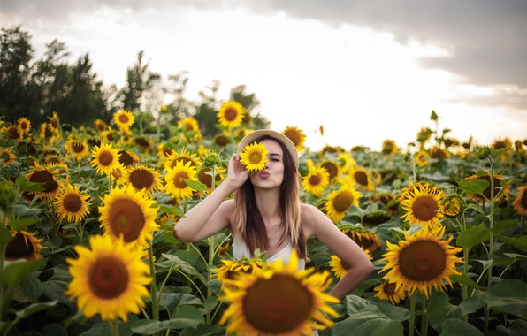 Picture girl, clouds, pose, hat, Sunflowers, Anna Kovaleva