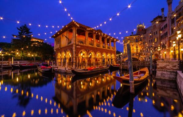 Picture water, reflection, building, boats, Japan, Japan, garland, gondola, Urayasu, Tokyo Disneyland, Tokyo Disneyland, Tokyo Disney …