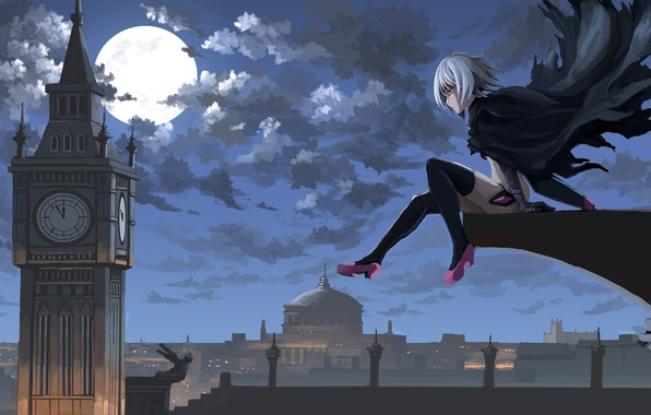 Picture girl, moon, sky, anime, night, clouds, London, Big Ben, artwork, Jack the Ripper, cape, anime …