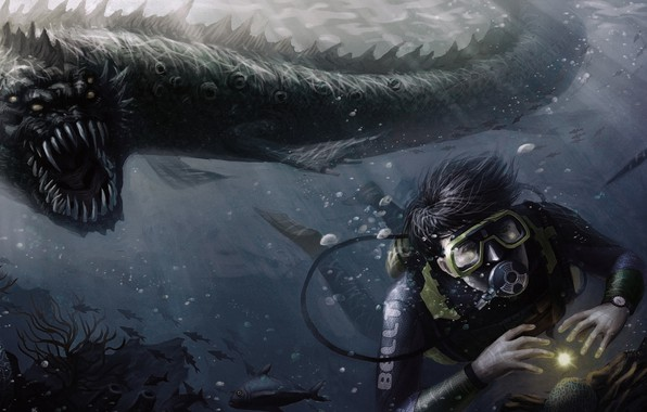 Picture monster, the diver, pearl, hunting, monster, Under water