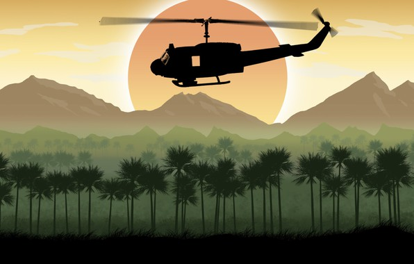 Picture the sun, trees, mountains, art, helicopter, UH-1 Huey